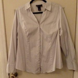 Lane Bryant grey striped button down shirt